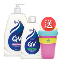 QV舒敏保濕乳液500ml+舒敏加護潔膚乳250ml送咖啡杯原價$1430會員價$1125